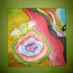 Jaro-malba na hedvábí, dřevěný rám(šířka lišty 8 cm)rozměr: 60x60 cm