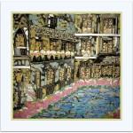 Francouzské městečko - malba na hedvábí, rozměr: 90x90cmcena: 3 500 Kč